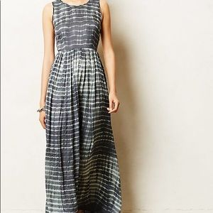 Anthropologie Neuw Shibori Maxi Dress Blue Small